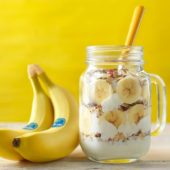 Banana granola breakfast in a jar