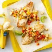 Banana mango salsa with whitefish