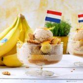 Παγωτό κανέλα με μπανάνα Chiquita και τραγανιστή ολλανδική βάφλα stroopwafel