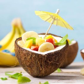 Fruit salad in coconut bowls