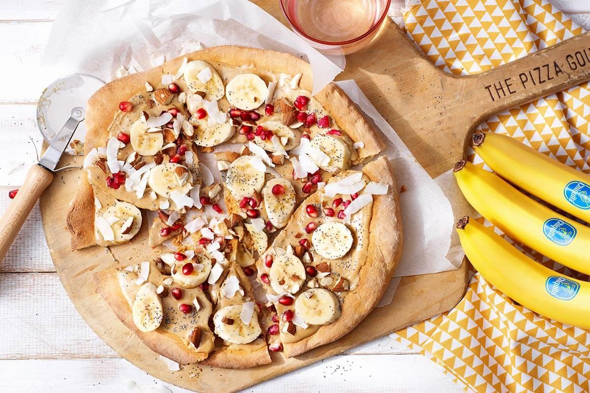 Υγιεινή γλυκιά πίτσα με μπανάνες Chiquita
