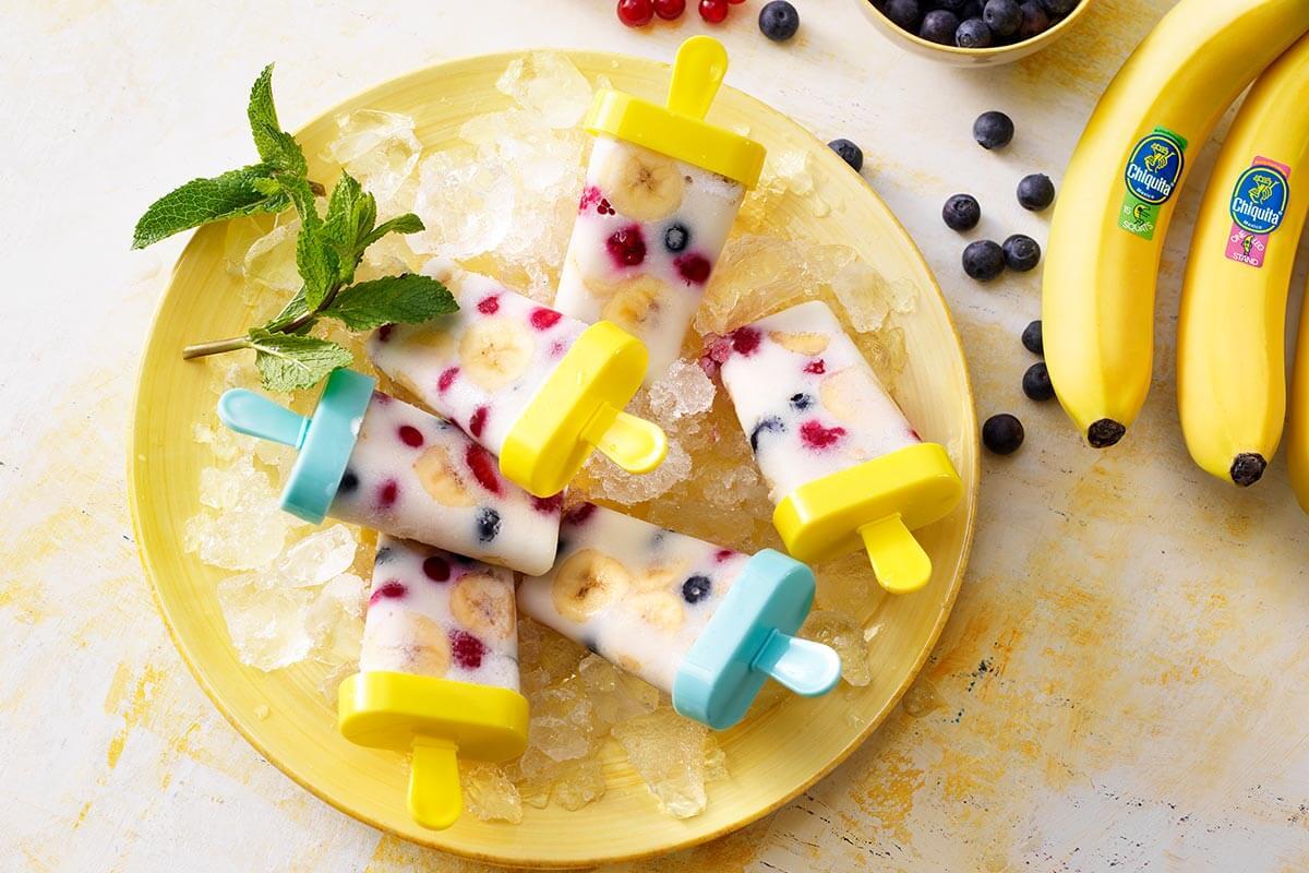 Παγωτό ξυλάκι με μπανάνα Chiquita και γάλα αμυγδάλου για μετά την άσκηση
