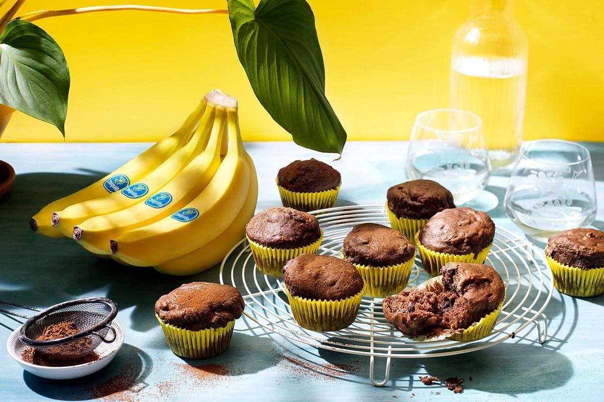Vegan muffin σοκολάτας με μπανάνες Chiquita