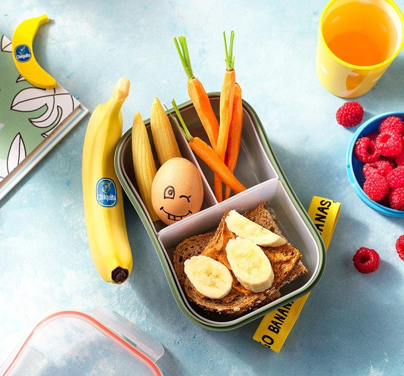 Snackbox with a peanut butter Chiquita banana sandwich