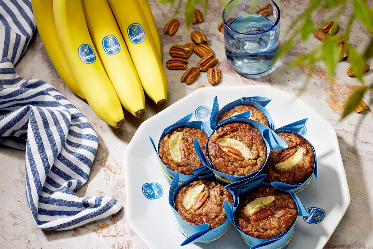 Muffin με μπανάνα και καρύδια πεκάν για δίαιτα Paleo από την Chiquita